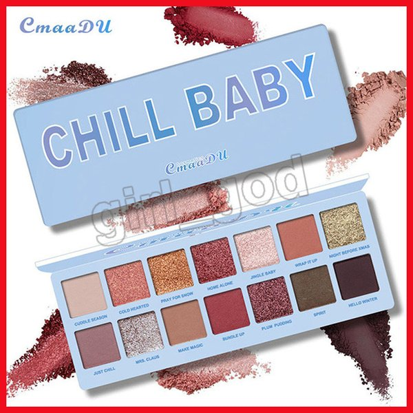 2019 New Cmaadu cosmetics Eyes makeup Christmas collection CHILL BABY eyeshadow palette 14colors eye shadow free shipping..