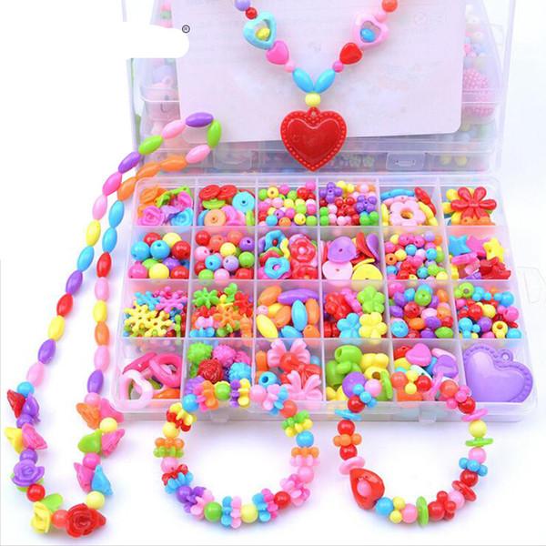 Modelo de Puzzle Tijolos Brinquedos para Crianças Corda Beads Make Up Puzzle Brinquedos Jóias Colar Pulseira Kit de Construção Brinquedo Bloco Educacional