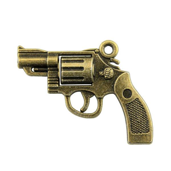 100 pcs revolver Pendentif Pendentif Pistolet Charms Bronze Antique Argent Antique Bricolage Vintage Fabrication de Bijoux Accessoires 22x29mm