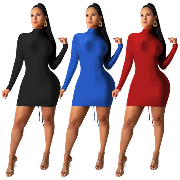 Sexy Women Designer Dress Fashion Ribbon Stand Collar Hollow Out Pleated Bodycon Dresses New Arrival Womens Dress