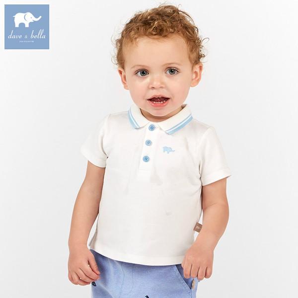 DBA6346 dave bella yaz bebek bebek erkek moda t-shirt çocuklar 100% pamuk butik çocuk yüksek kalite tops