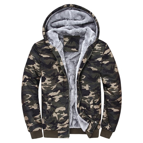 Herren Camouflage Wintermantel Sport Wandern Jacken Herren Camouflage Hoodie Winter Warm Fleece Zipper Sweater Jacke Outwear Coat