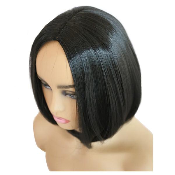 Kısa Bob Peruk Sentetik Malzeme Tam Makine Yapımı Tutkalsız Siyah Isıya Dayanıklı Saç Peruk Kadınlar Ücretsiz Nakliye Için