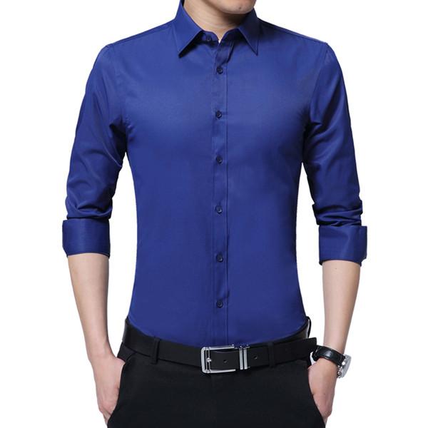 2019 New Casuall Men Shirt Brand Business Fashion Good Quality Solid Man Shirts Slim Fit clothes Mens Dress Shirts