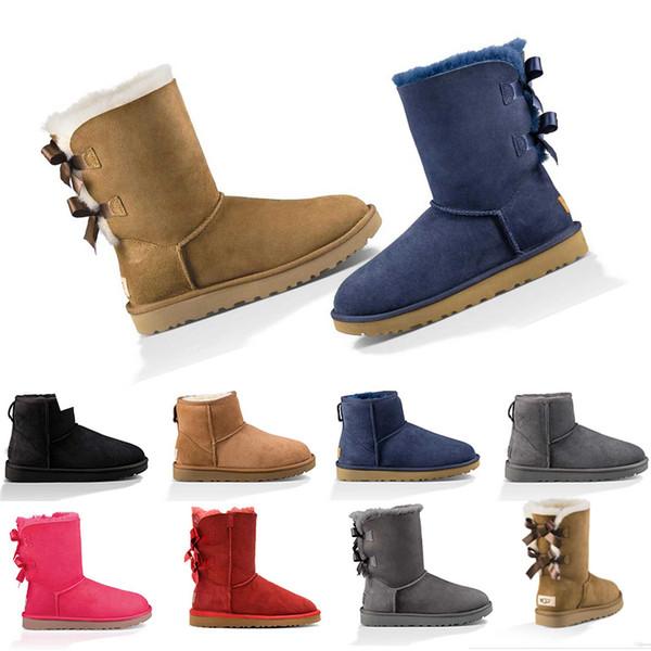 UGG Australia Boot WGG Kış Kar Kadınlar Boot Avustralya Uzun Boylu Kısa Ayak Bileği Çizmeler Siyah Gri Lacivert Kestane Kız Lady Moda Açık Ayakkabı Boyutu 36-41