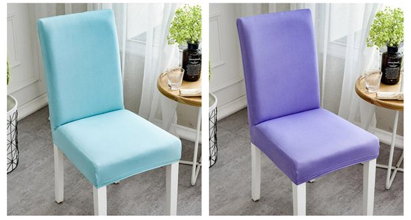 Modern Plain Color Chair Cover Spandex Stretch Elastic Wedding Banquet Chair Covers Dining Seat Cover Pastoral Hotel Cover YZT01