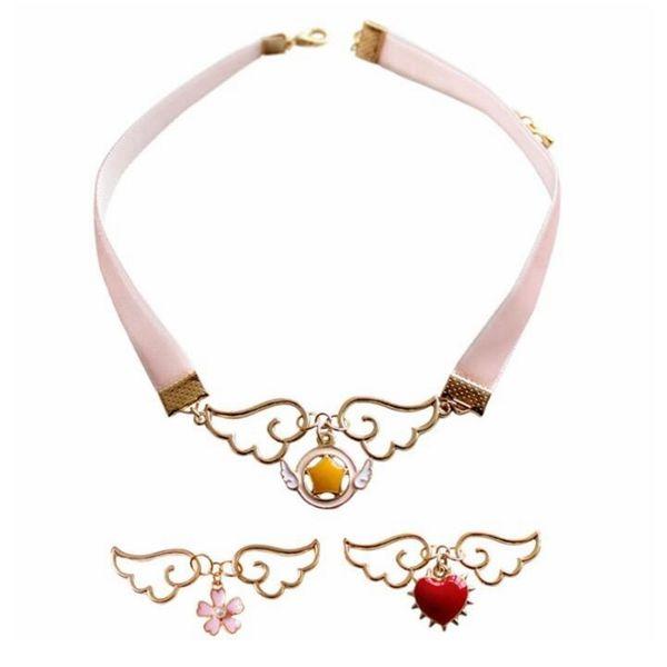 Mode Collier Ruban Rose Bijoux Accessoires En Métal Émail Ange Wing Star Carte Coeur Captor Sakura Collier
