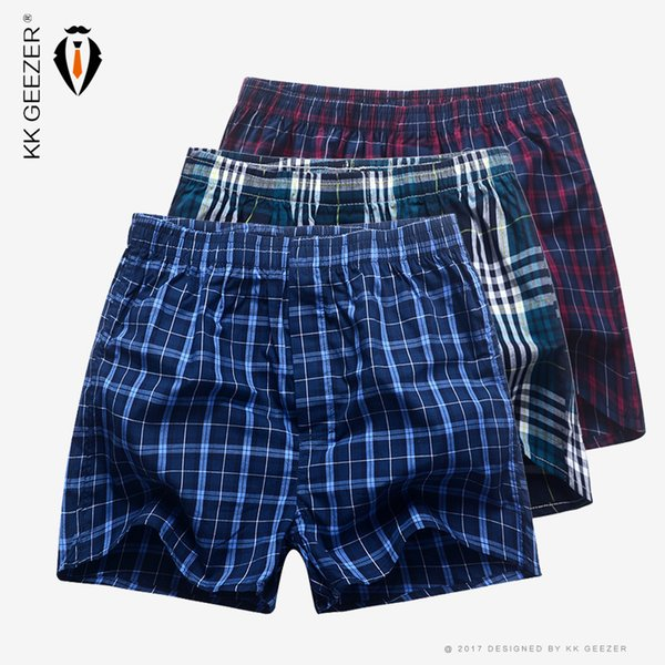 3 Pcs/lot Men Boxer Plaid Underpants 100% Cotton Underwear Male Sleep Bottoms Shorts Brand Top Quality Loose Homewear Oversize Y19071801