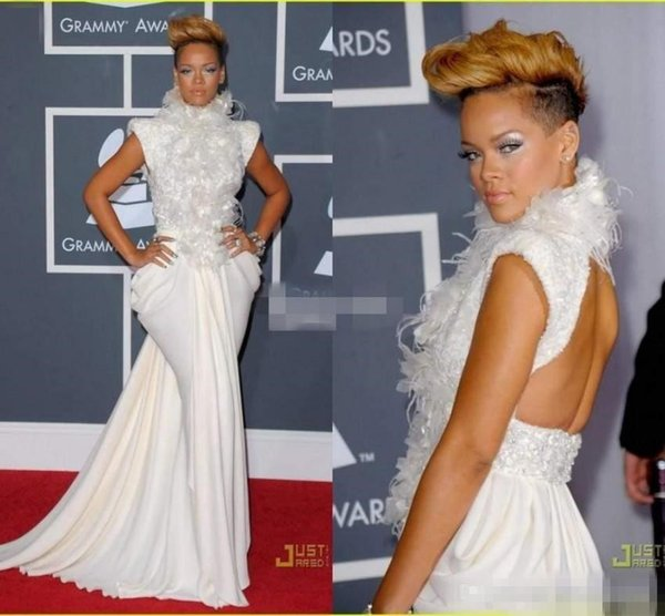 Elegant Rihanna on Grammy Red Carpet Dresses Evening Wear Mermaid Backless High Neck Feather Sequins Cap Sleeves Celebrity Prom Dresses
