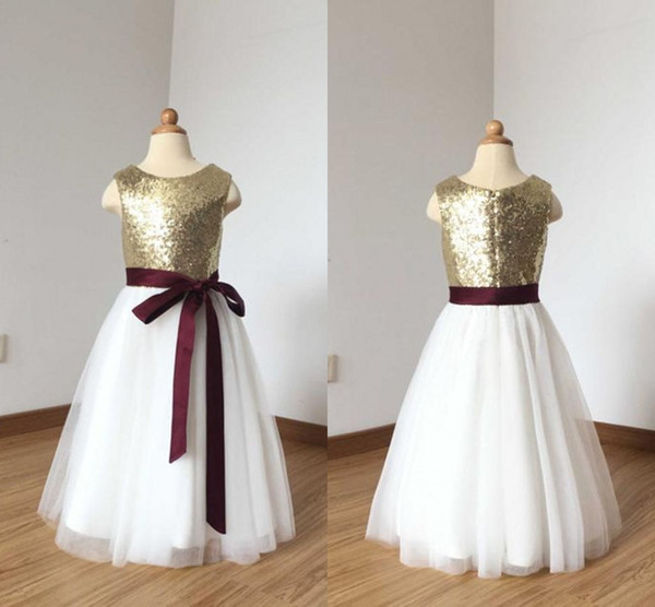 f54a3e3218 Sparkly Gold Sequins White Flower Girls Dresses 2019 Jewel Ribbon Bows Tulle  Zipper Back Sleeveless Long