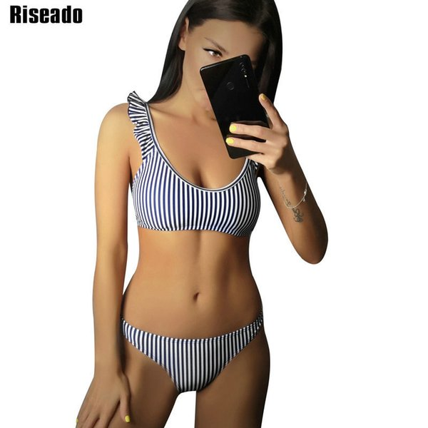 Riseado Sexy Bikinis 2019 Ruffle Swimwear Women Striped Printing Swimsuits Bathing Suits Push Up Brazilian Bikinis Beachwear Y19072501