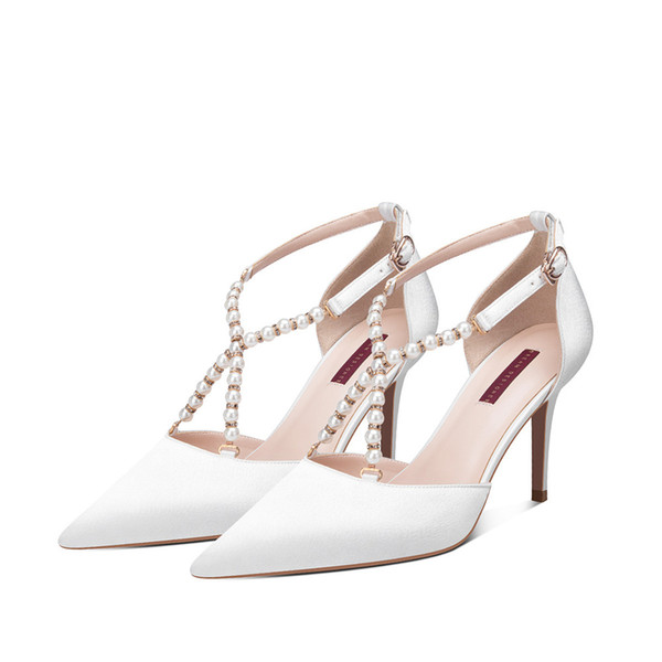 Downton Handmade Pearls ankle strap Wedding Shoes cross straps Bridal Shoe bridesmaid heels Prom Party Pump heel 8cm size 34-39