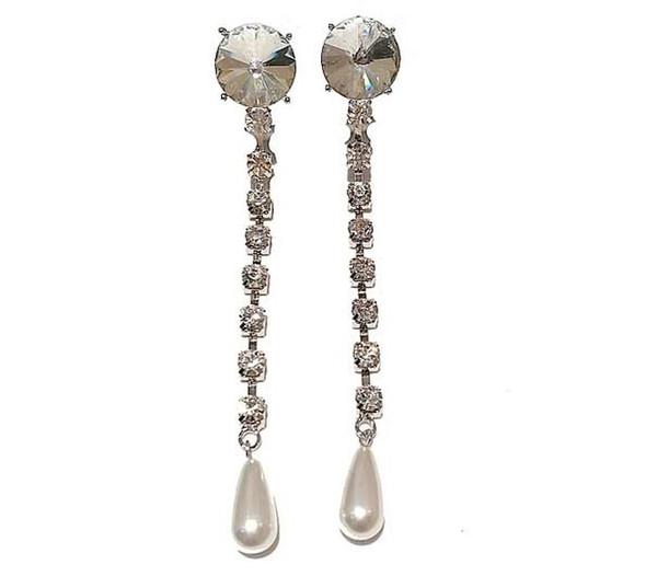 Luxury Gem Long Chain Drop Pearl Earrings Long Drop Pearl Ear Stud Female Earclip Without Ear Hole Beautiful