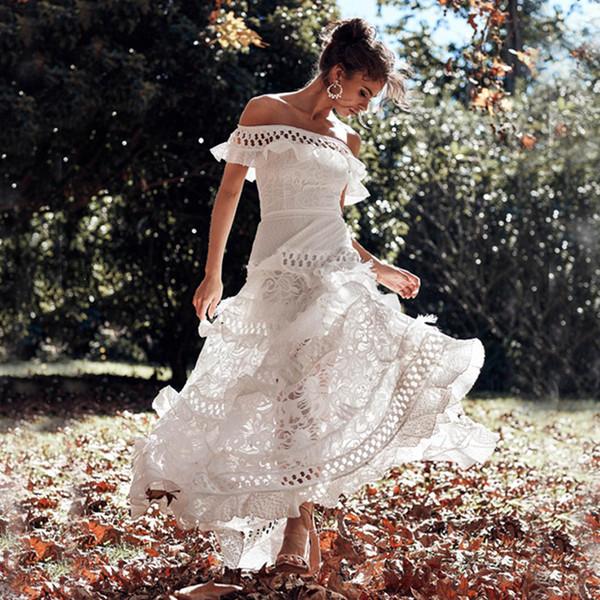blanca fuera del hombro de la sirena de los vestidos de partido de baile 2019 Nueva largo barrido de deformación vestidos del partido formal de la tarde apliques de encaje de cóctel de lentejuelas