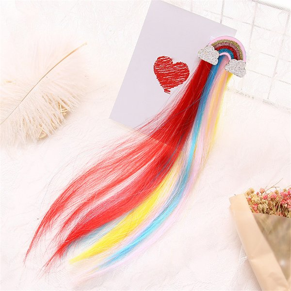 5pcs/lot Glitter Hair Clips For Girls Rainbow Cloud Hair Accessories Colorful Long Wig Hairpins Kids Princess Barrette