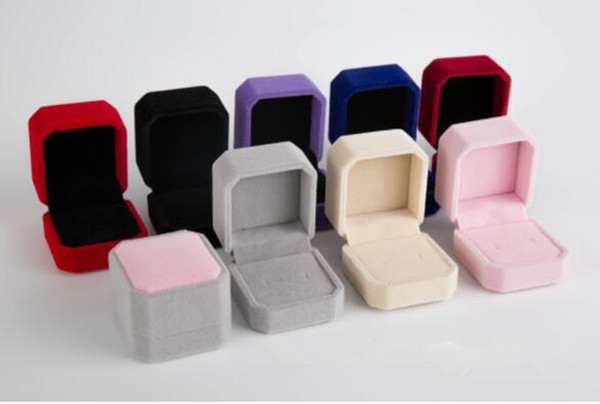 top popular 2019 new fashion 9 color square velvet jewelry box red gadget box necklace ring earrings box DHL Free 2021