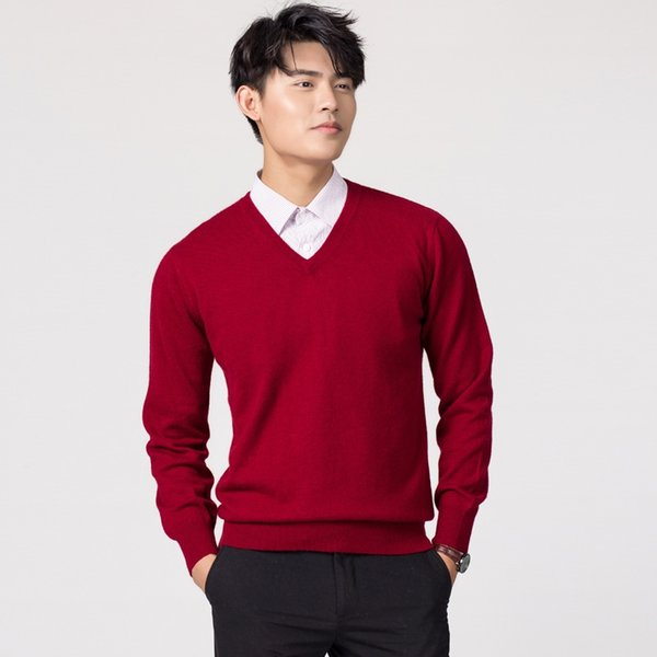Man Pullovers Winter New Fashion Vneck Sweater Cashmere and Wool Knitted Jumpers Men Woolen Clothes Hot Sale Standard Male Tops #539038