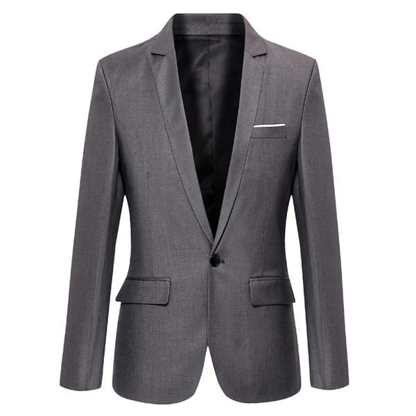 Men Blazer Solid 2019 Korean Designs Slim Fit Blazer Jacket For Men One Button Fashion Casual Male Suits Coat Cool Clothes