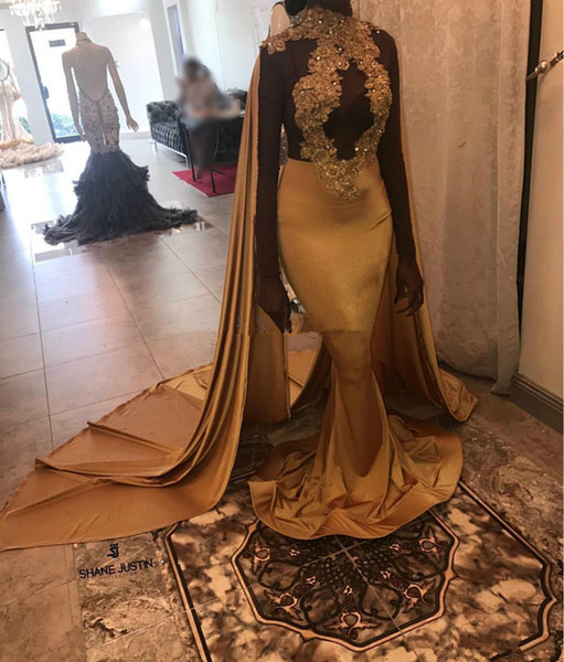 Dubai Caftan Gold Mermaid Prom Dresses Africa High Neck Appliques Long Sleeves Evening Gowns Black Girls Tight Satin moroccan dress 2019