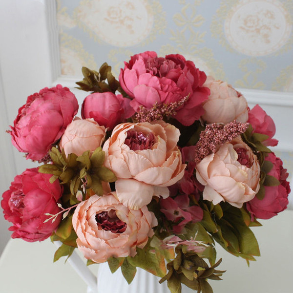 HIGHT Qualità Fiore di seta Europeo 1 Bouquet di fiori artificiali Autunno Vivid Peony Fake Leaf Wedding Home Decorazione del partito