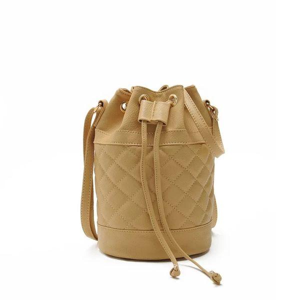 Rhombus Bucket PU Leather Round Shoulder Handbag Crossbody Bag For Fashion Women Mini Candy Color Drawstring Satchel