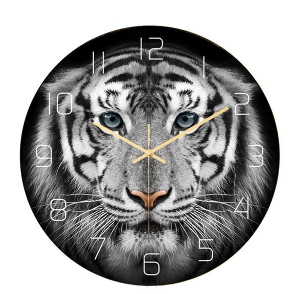 Tiger Roi Horloge murale décorative Mur animal spirituel art Décoration faune Tiger Head Salon Mouvement silencieux Montre