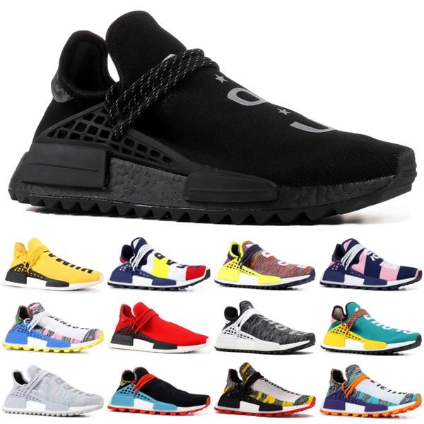 Adidas 2019 Preto Nerd Raça Humana Clássico NMD Hu Pharrell Solar Pack Laranja amarelo Nobel tinta Homens Mulheres Sapatos Esporte Em Execução Sneaker 5-11.5