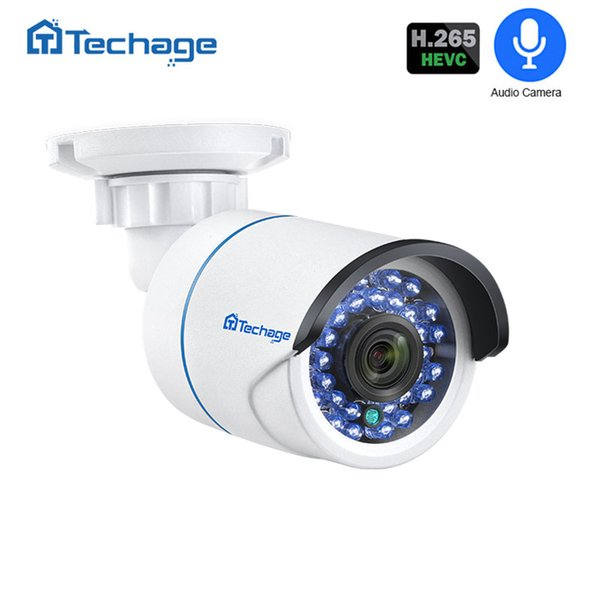 Surveillance IP Techage H.265 1080P 2MP Surveillance IP POE Camera Audio Record Microphone IR Night Outdoor CCTV Video Security Camera