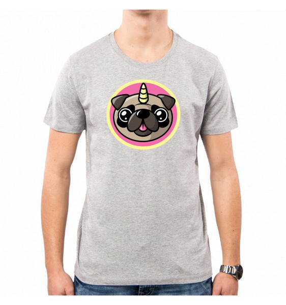 T-SHIRT UOMO PUG UNICORN PINK CUTE FUNNY SWEETIES ANIMAL NEMIMAKEIT NM0084A PACD colour jersey Print t shirt