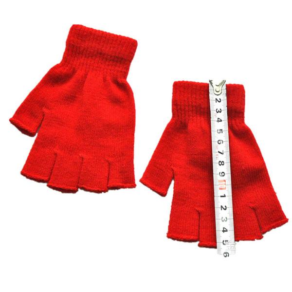 2PCS=1Pair Red/Black/Blue Winter Wool Gloves For Women Short Half Finger Fingerless Wool Knit Wrist Glove Men Winter Workout