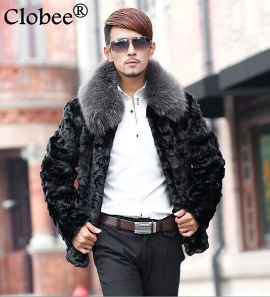 Plus Size hommes manteau de fourrure manteau noir Hommes Faux Vestes d'hiver 2019 Turn-bas Collier simple boutonnage coupe-vent S61