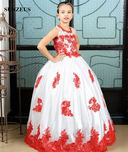 Ball Gown White Flower Girl Dress With Red Appliques Lace Children Long Party Dress For Wedding Beaded Kids Formal Wear Tulle