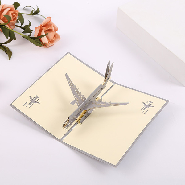Hand Made Pop Up 3D Greeting Cards Three Dimensional Airplane Design Postcards Creative Thank You Card Hot Sale
