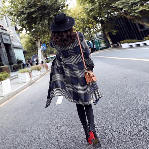 Temporada de Qiu dong con abrigo de tela gruesa edición de han 2018 nueva hembra en largo abrigo de paño de lana de rejilla popular suelta
