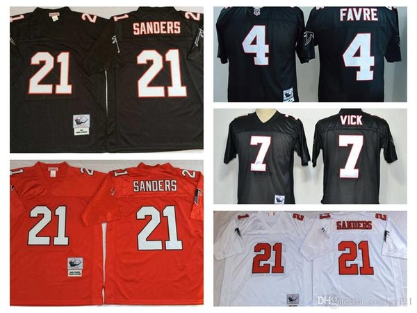 brand new 9728c a58aa 2019 Throwback Football Jerseys 21 Deion Sanders Jersey Vintage 4 Brett  Favre 7 Michael Vick White Black Home Away Stitched From Gosportfans,  $22.93 | ...