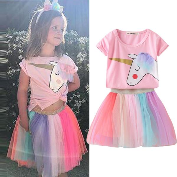 Mädchen Sets Neue Ins Baumwolle Einhorn Cartoon Einhorn T-shirts + Farbe Mesh Rock 2 stücke Anzüge Prinzessin Ballkleid Rock für Kinder