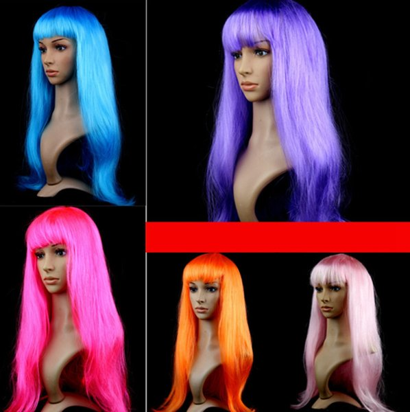 Parrucca cosplay capelli lunghi lisci Halloween Parrucca festaioli capelli neri sintetici in fibra sintetica nera