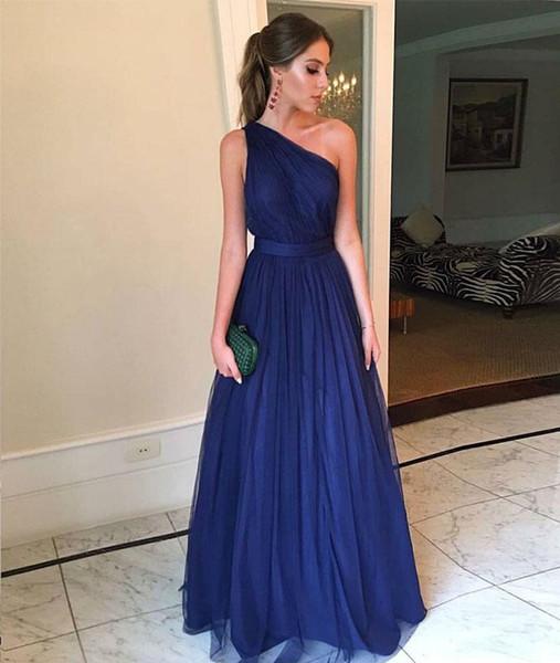 Royal Blue Günstige Brautjungfer Kleid Eine Schulter Plissee Empire Beach Stil Bodenlangen Günstige Brautjungfer Prom Abend Party Kleider
