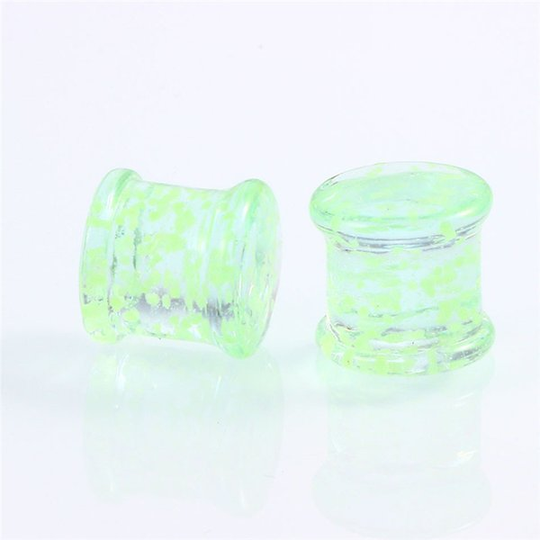 4pcs Pyrex Glass Ear Spiral Taper Glow in Dark Ear Tunnel Plugs Piercing Twist Hanger Weight Expander Stretcher Jewelry