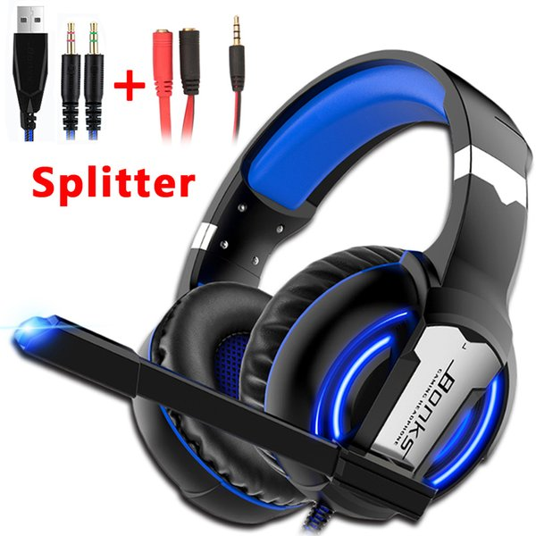 Gaming Headset Gamer Headphones Game Earphones Wired Deep Bass Stereo Casque con micrófono para PS4 Nueva Xbox One Laptop Tablet