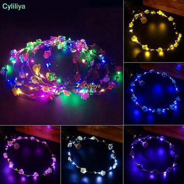 Piscando LED Hairbands strings Glow Flower Crown Headbands Festa de luz Delírio Floral Guirlanda de cabelo Guirlanda luminosa Acessórios para o cabelo