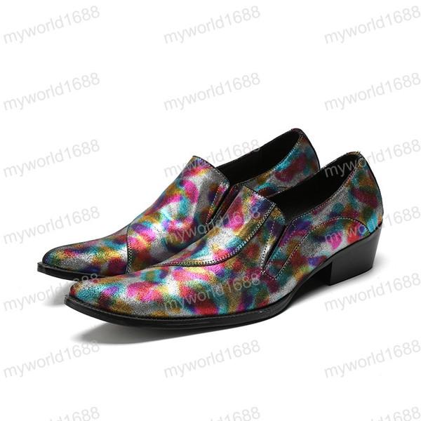Luxus Spitz Bunte Männer Formale Schuhe Geschäftsstelle Hochzeit Echtes Leder Oxford Schuhe Für Männer Kleid Schuhe