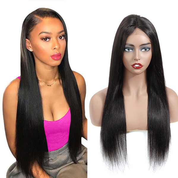 4x4 Dantel Frontal İnsan Saç Peruk Bebek Saç Ile PrePlucked 8-20 inç Hint düz dantel frontal peruk doğal renk düz saç peruk