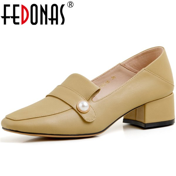 fedonas roundtoe women sweet pearl decoration wedding pumps genuine leather summer spring square heeled shoes woman, Black