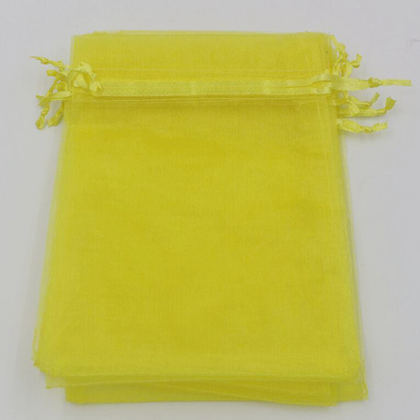 top popular Hot ! Lemon Yellow 7x9cm 9X11cm 13X18cm Organza Jewelry Gift Pouch Bags For Wedding favors,beads Accessories 2020