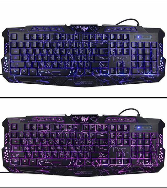Tastiera russa LED Variabile con colore luminoso retroilluminato Multimedia ergonomica Gaming Keyboard e Mouse Set per Console giochi nuovi
