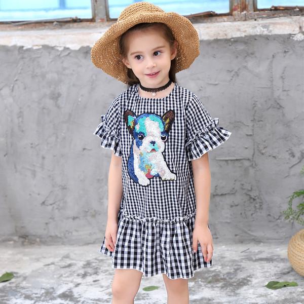 Acheter Vêtements Pour Enfants Fille été 2019 Vêtements De Dessin Animé Coton Noir Et Blanc à Carreaux Paillettes De 238 Du Tong1223 Dhgatecom