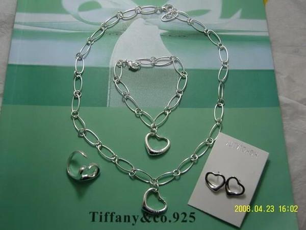 2019 Envío gratis caliente Diseñador de la marca 925 Silver Heart Lock collar de joyería de moda y pendiente de pulsera regalo de embalaje original con caja