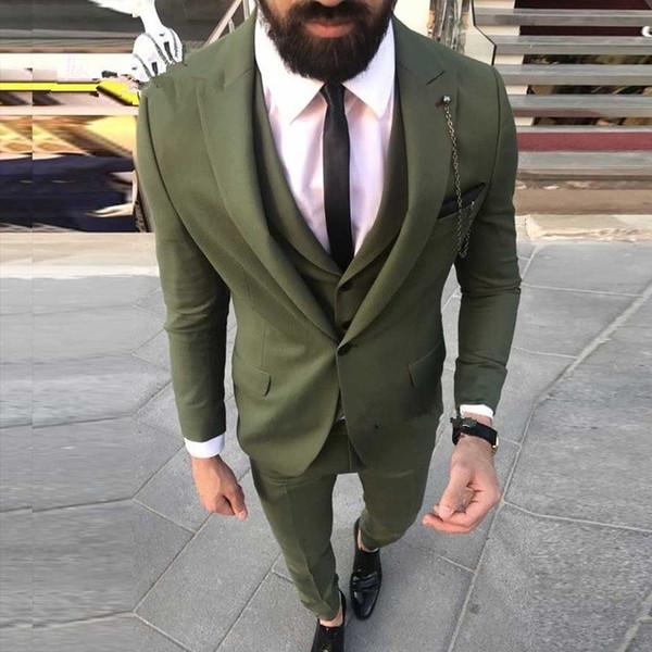 2019 New Fashion One Button Green Mens Suits Groom Tuxedos Peak Lapel Prom Men Wedding Suits 3Pcs (Jacket+Pants+Vest+Tie)