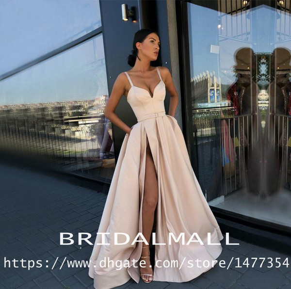 Spaghetti Straps 2019 Evening Dresses With Pockets High Slit Satin Formal Party Gowns Sweep Train Long Prom Dresses Custom robe de soiree